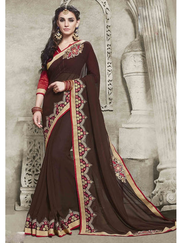 Womens embroidered  Brown ravishing Georgette Saree