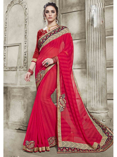 Womens embroidered  Pink & Red Combination Chiffon Saree