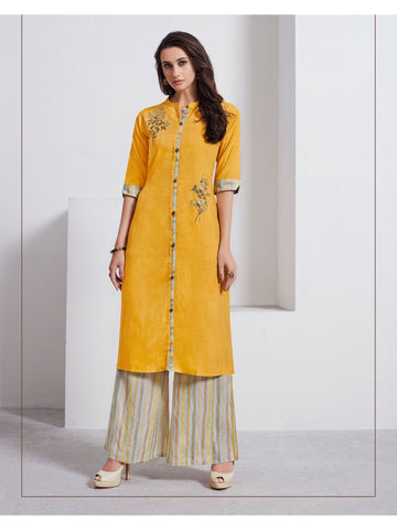Designer and Beautiful Mustard Color Straight Cut Kurti with Palazzo
