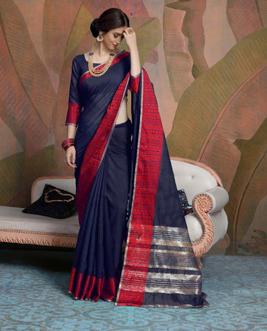 Designer Navy Blue Color Linen Saree