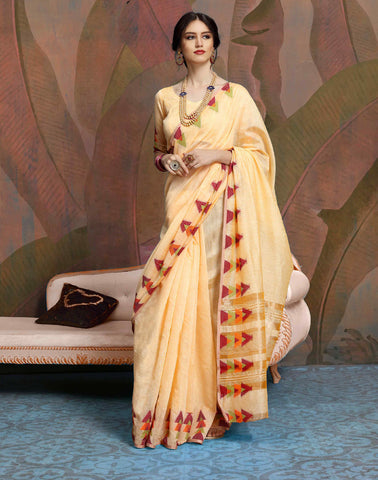 Designer Light Orange Color Linen Saree