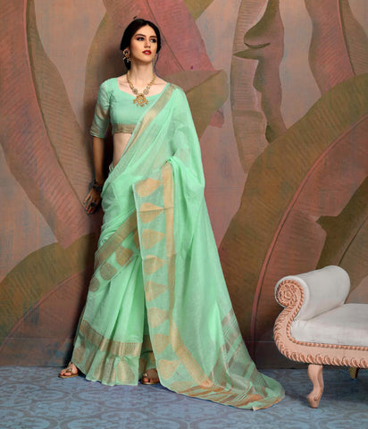 Designer Light Green Color Linen Saree