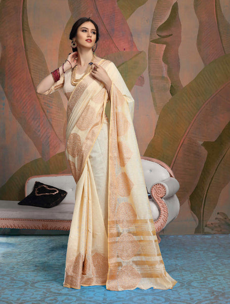 Designer Cream Color Linen Saree
