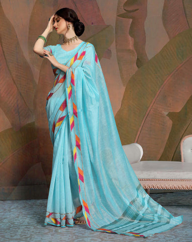 Designer Sky Blue Color Linen Saree