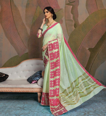 Designer Parrot Green Color Linen Saree