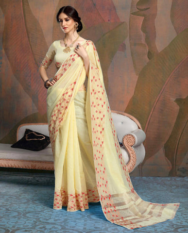 Designer Light Yellow Color Linen Saree