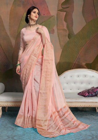 Designer Peach Color Linen Saree
