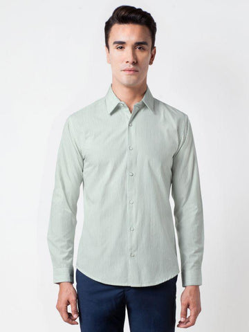 Woven Striped Cotton Shirt in Green Color