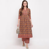 Cotton Printed Straight Cut Kurti With Palazzo