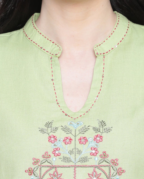 Cotton Embroidered Straight Cut Kurti