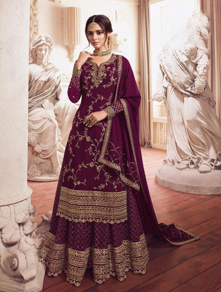 Beautiful Heavy faux Georgette Purple Straight Cut Suit