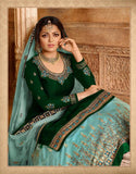 Beautiful Satin Georgette Green Straight Cut Suit