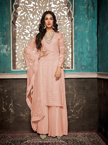 Beautiful and Designer Faux Georgette Straight Cut Suit