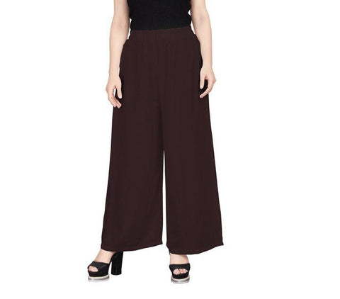 Rayon Stitched Brown Colour Palazzo Pant