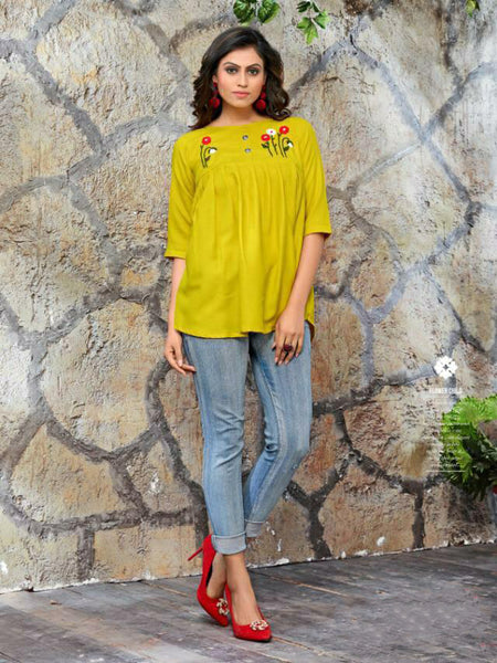 Yellow Color Galaxy Cotton Top