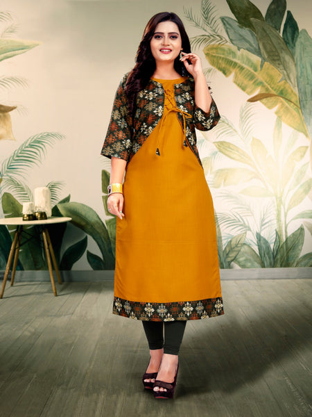 Beautiful Ruby Cotton Digital Printed Straight Cut Kurti