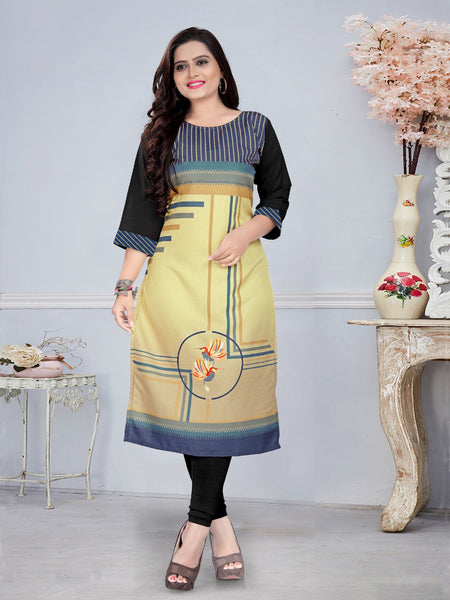 Beautiful Heavy American Crepe Digital Printed Straight Cut Kurti