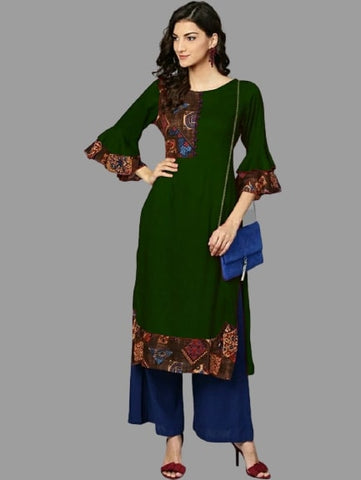 Green Color Heavy Rayon Straight Cut Kurti