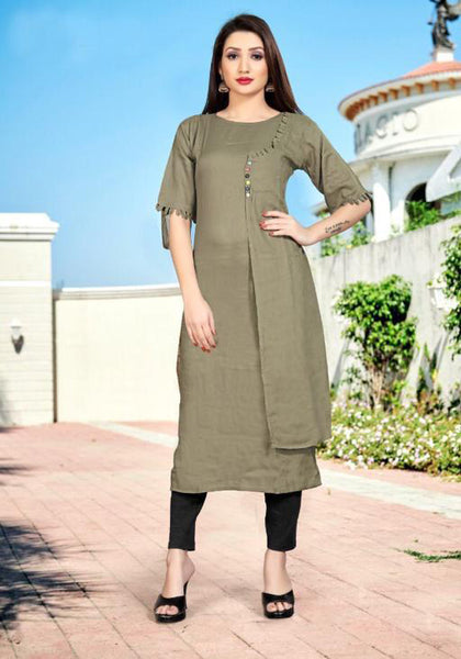 Grey Color Heavy Rayon Handworked Straight Cut Kurti