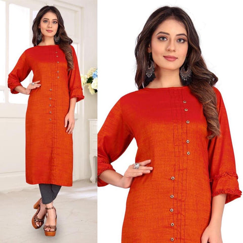Designer Rayon Two-Tone Slub Straight Cut Kurti