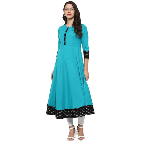 Blue Color Rayon Jacquard Black Border Anarkali Kurti