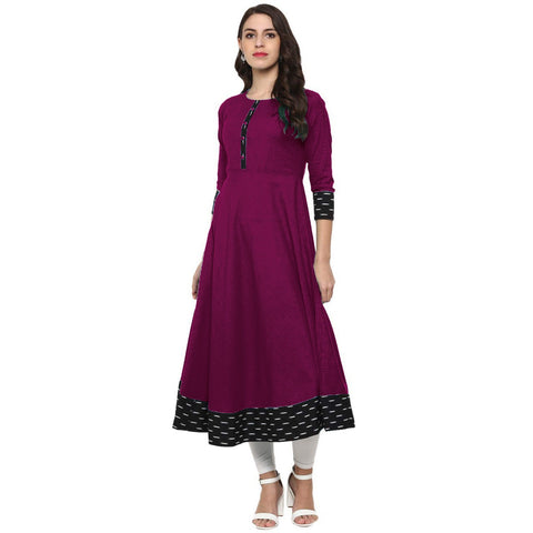 Magenta Color Rayon Jacquard Black Border Anarkali Kurti