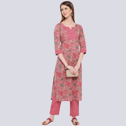 Pink Color Cotton Printed Straight Cut Kurti with Palazzo