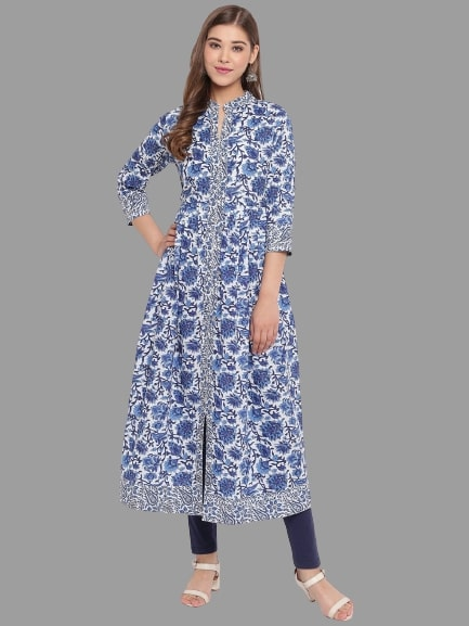 Blue Color Cotton Printed Straight Cut Kurti