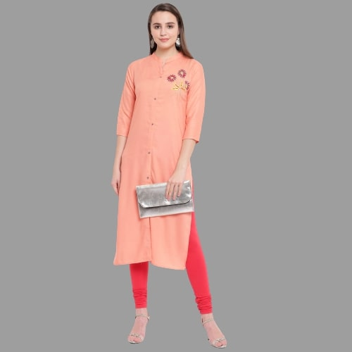 Peach Color Rayon Handworked Straight Cut Kurti
