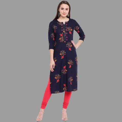 Navy Blue Color Rayon Printed Straight Cut Kurti