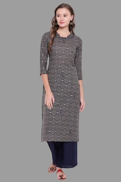 Gray Color Cotton Embroidered Straight Cut Kurti
