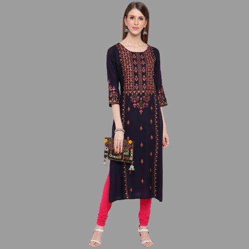 Blue Rayon Embroidered Straight Cut Kurti