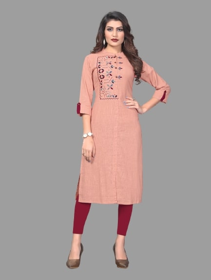 Gajari Pink Cotton Embroidered Straight Cut Kurti