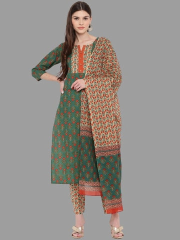 Green Cotton Printed Straight Cut Suit