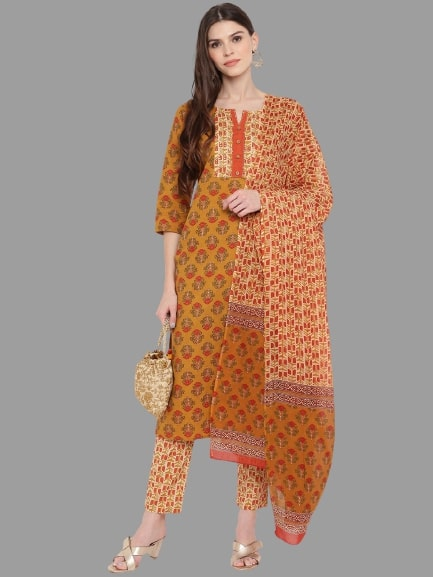 Mustard Yellow Cotton Printed Straight Cut Suit