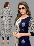 Blue and Off White Rayon Printed Anarkali Kurti