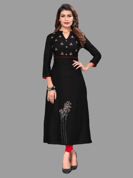 Black Rayon Embroidered Straight Cut Kurti