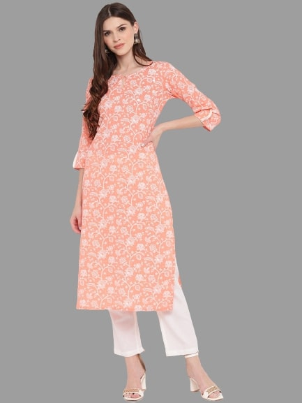 Light Orange Cotton Printed Straight Cut Kurti with Palazzo