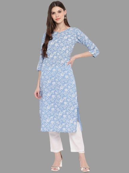 Light Blue Cotton Printed Straight Cut Kurti with Palazzo