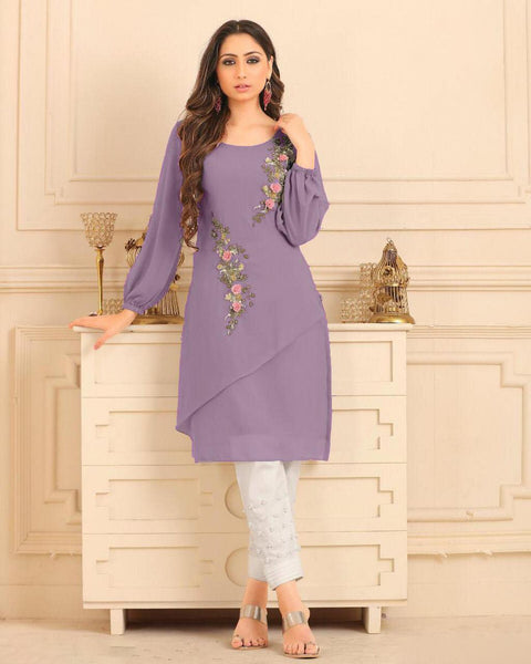 Lavender Purple Straight Cut Kurti With Palazzo