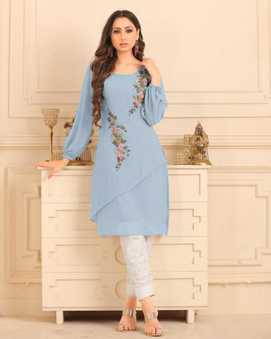 Cerulean Blue Straight Cut Kurti With Palazzo