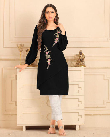 Jet Black Straight Cut Kurti With Palazzo