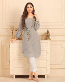 Ash Grey Straight Cut Kurti With Palazzo