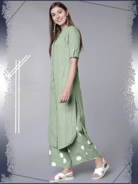 Designer Rayon Cotton Straight Cut Kurti with Palazzo