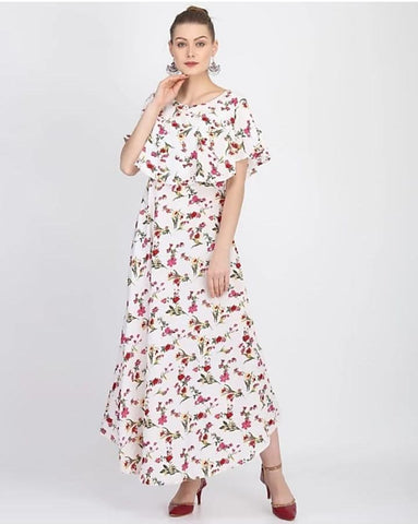 Off White Floral Printed Jarman Cape Sleeve Silk Dress