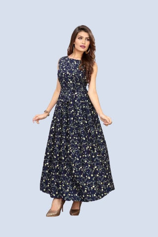 Navy Blue Floral Printed Jarman Cape Sleeve Silk Dress