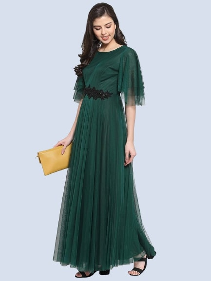 Green Color Embroidered Net Gown
