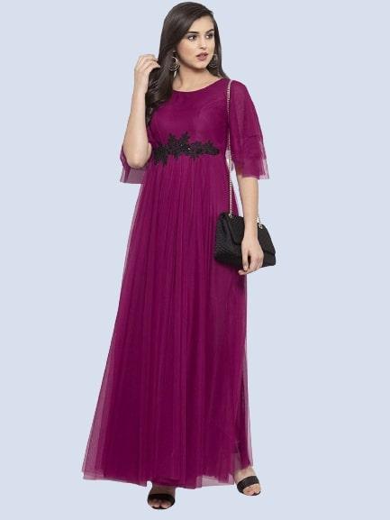 Purple Color Embroidered Net Gown