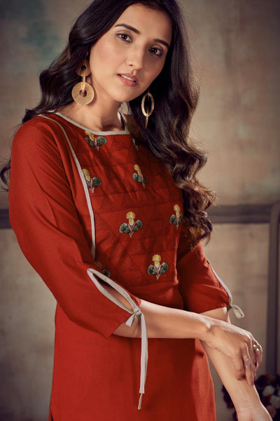Heavy Rayon Embroidered Straight Cut Kurti with Palazzo