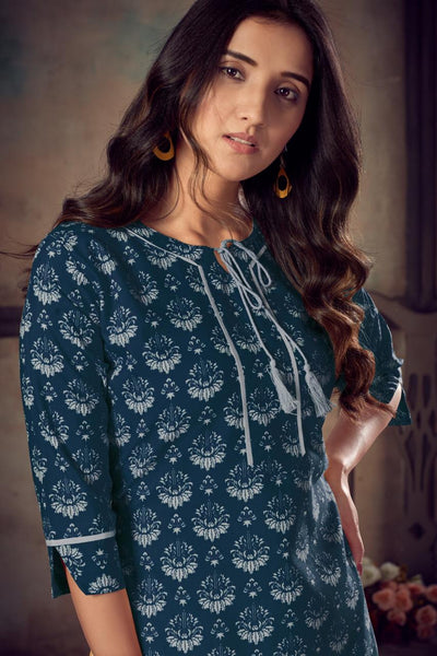 Heavy Rayon Printed Straight Cut Kurti with Palazzo